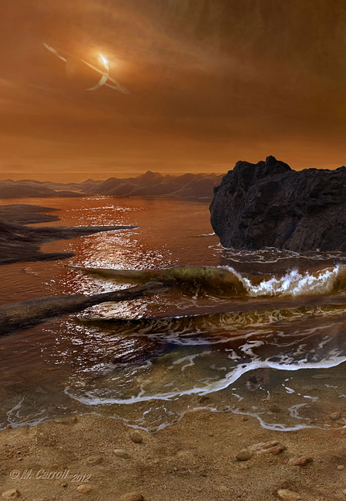 在这幅艺术家插图中,土卫六的碳氢化合物海洋海浪拍打海滩,这些碳氢化合物有助于土卫六形成更加复杂的分子。