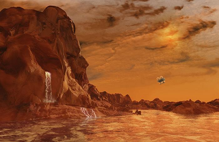 """近期,美国宇航局选定""""蜻蜓计划"""",拟将发射一架小型旋翼飞行器在2034年着陆土卫六表面,然后飞行器将飞离土卫六表面,在更大范围探索其他土星卫星。"""