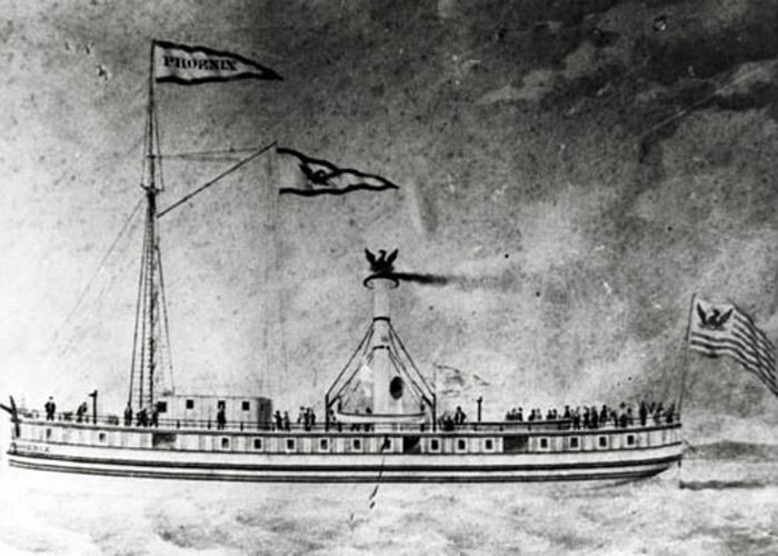 """美国佛蒙特州尚普兰湖发现1819年沉没的蒸汽轮船""""凤凰号""""(SS Phoenix)桨轮"""