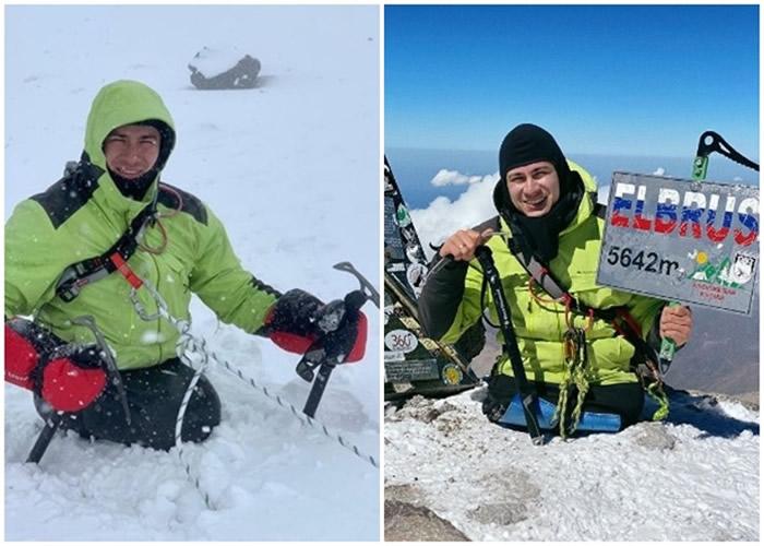 纳比耶夫凭借两个冰斧登上顶峰。