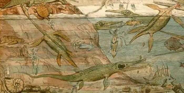 《更古代的多塞特郡》局部,注意对粪化石成因的复原