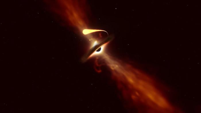 过于接近黑洞的星体将被「吸进去」,强大引力拉扯过程称为「面条化」,科学家首次公开影像。(图/翻摄自YouTube「European Southern Obser