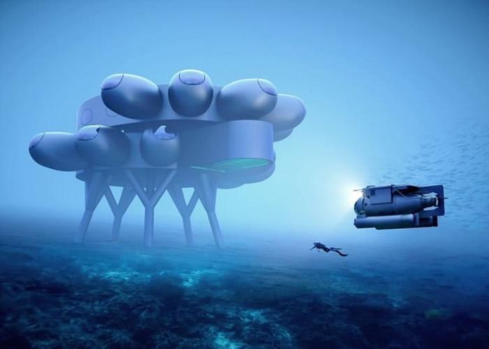 水下研究站将设有供潜水器停靠的月亮池。