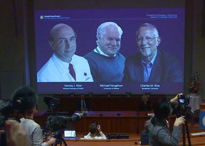 诺贝尔奖颁奖典礼改为线上直播,医学奖得主为阿尔特、霍顿、莱斯(左起)。