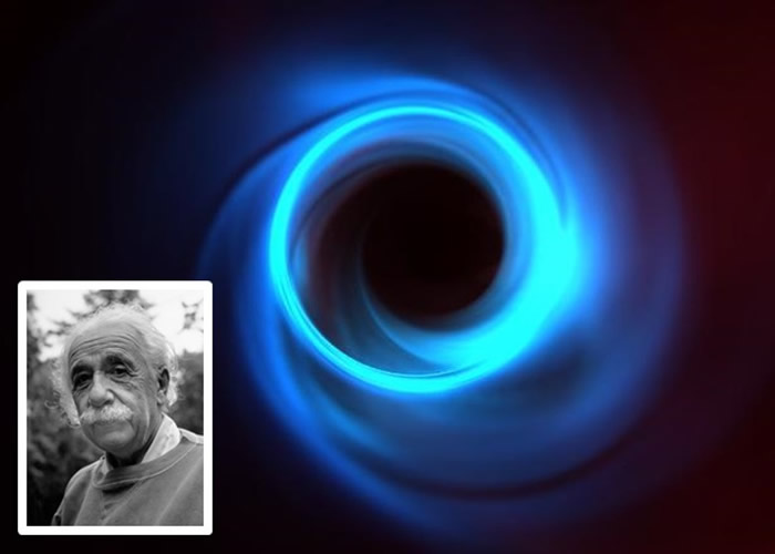 M87星系中心黑洞模拟图显示等离子体在黑洞周围旋转时的运动,蓝色薄环是黑洞阴影的边缘。小图是爱因斯坦。
