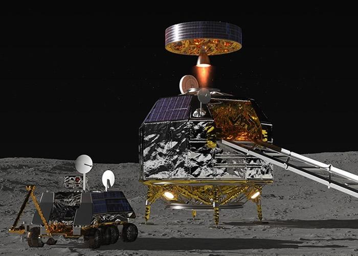 JAXA希望将月球采集的水,供起降机及载人运输机(右)用作燃料。
