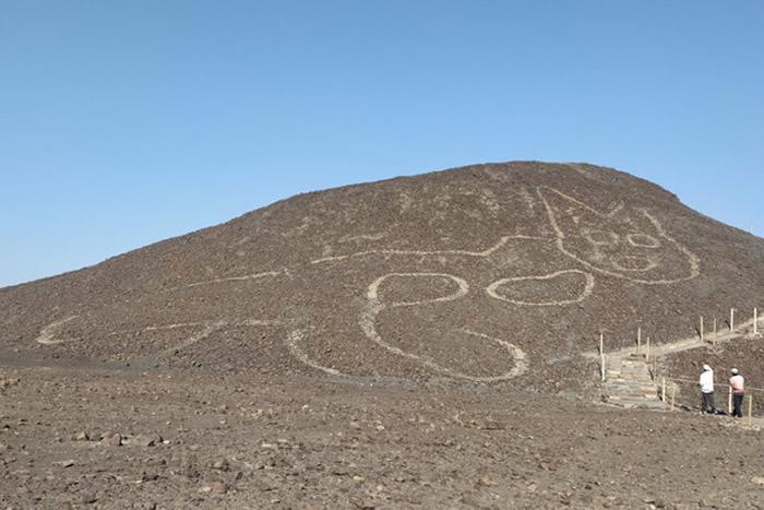 秘鲁伊卡沙漠发现一个有超过2000年历史的巨大猫咪图腾