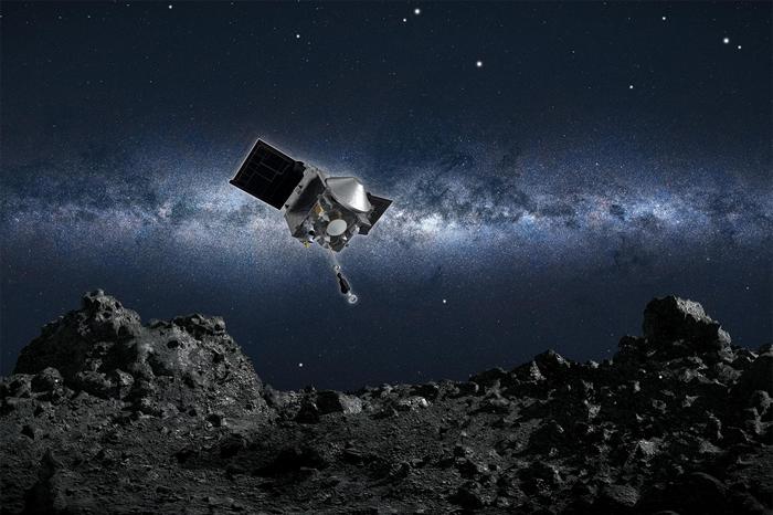 艺术家绘制的想像图:美国航太总署欧西里斯号太空船即将从贝努小行星表面采集样本。 ILLUSTRATION BY NASA/GODDARD/UNIVERSITY