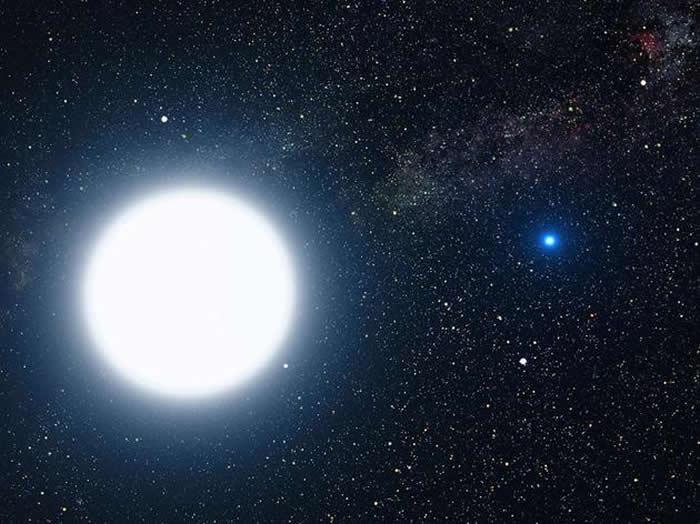 天狼星A和B,双星系统中的一颗普通(类似于太阳)恒星和一颗白矮星