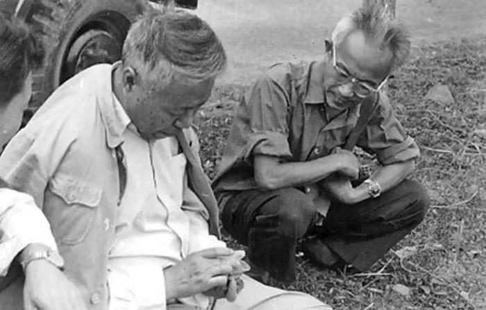 """1977年,苏秉琦(左)在河姆渡遗址""""摸陶片"""""""