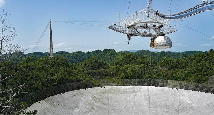 位于波多黎各的阿雷西博射电望远镜再次因钢缆断裂导致盘面受损