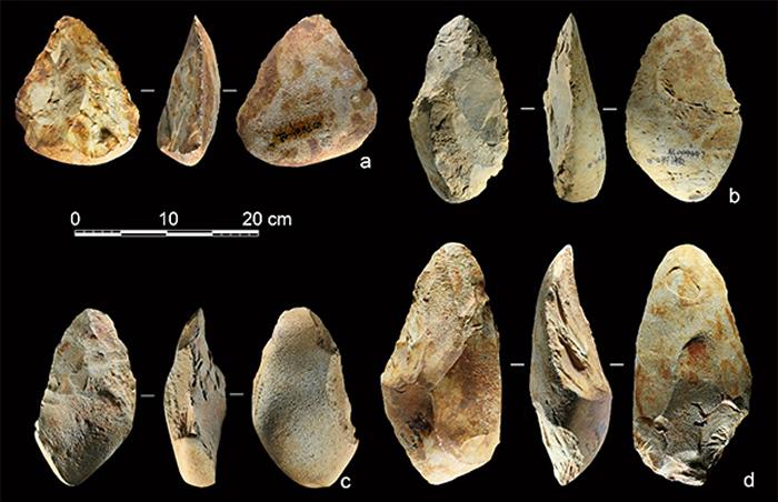 百色盆地以砾石为毛坯的手斧标本(供图 李浩、雷蕾)