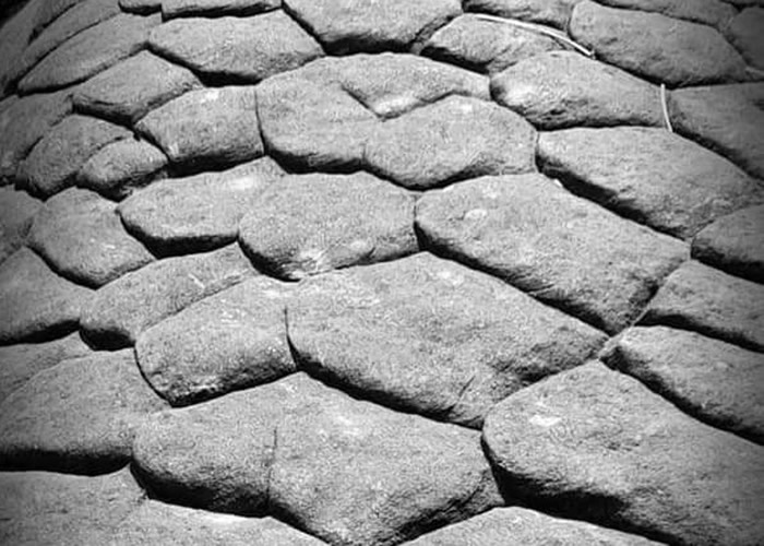 """""""龙鳞洞""""内的石壁有天然形成的巨大鱼鳞纹。"""