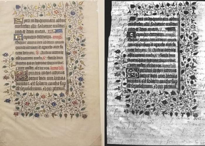 美国纽约州罗切斯特理工学院学生紫外线照中世纪手稿意外发现隐藏文字