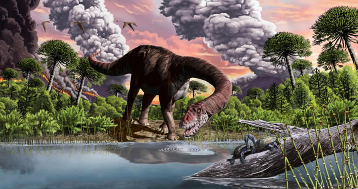 """巴塔哥尼亚新出土的恐龙""""巴瓜尔黎明""""Bagualia alba艺术复原图(Image credit: Jorge González.)"""