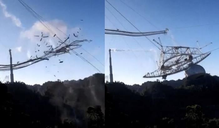 阿雷西博天文台重达900吨射电望远镜坠毁倒塌画面曝光