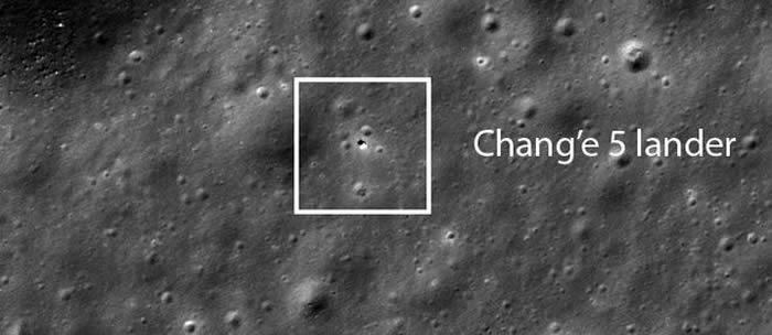 NASA的月球勘测轨道飞行器LRO拍摄到月球表面的嫦娥五号探测器