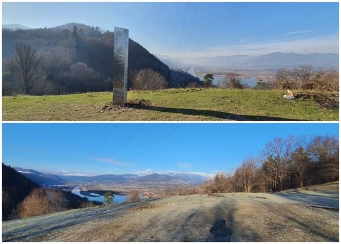 罗马尼亚东北部山区神秘金属巨柱突现现身又突然消失