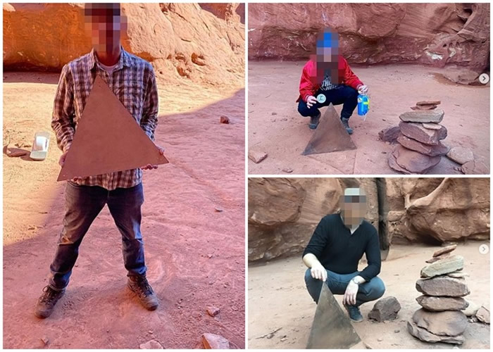 美国犹他州沙漠神秘金属柱离奇消失 疑遭不明人士偷走