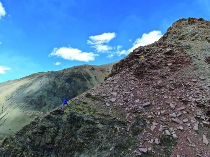 袁东勋在文布乡北村一处剖面采集牙形化石,这是此行科考中坡度最陡的一座山。