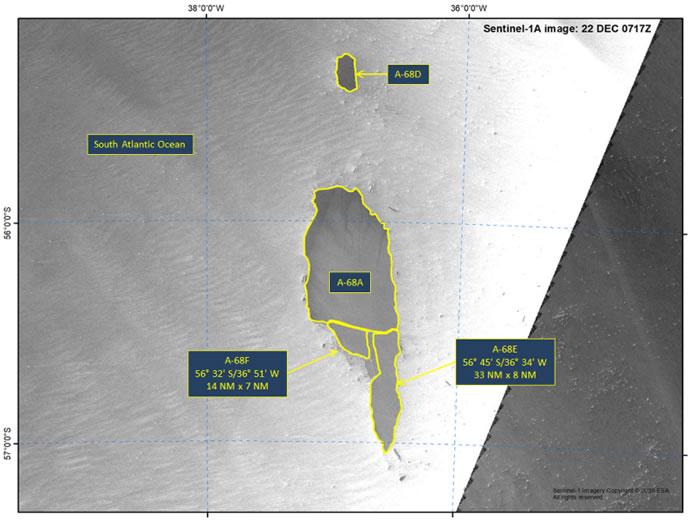 威胁南大西洋南乔治亚岛的巨型冰山A-68A已经分裂成三块