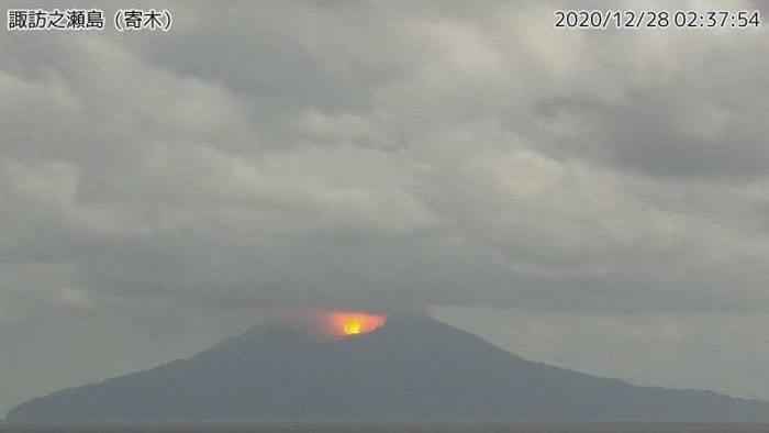 日本鹿儿岛西南部外海诹访濑岛火山爆发