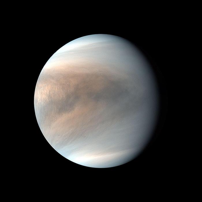 我们可以从日本破晓号太空船所拍摄的金星紫外线假色影像中,看到金星云层的模样。 PHOTOGRAPH BY JAXA/PLANET-C PROJECT TEAM