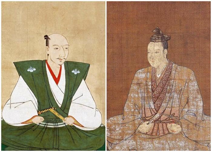明智光秀(右)叛变织田信长(左)。