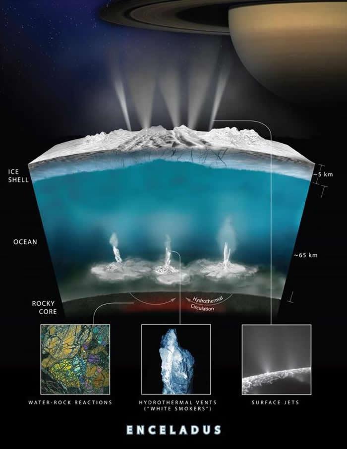 土卫二上的冰下海洋可能含有多种化学物质 或可孕育微生物群落