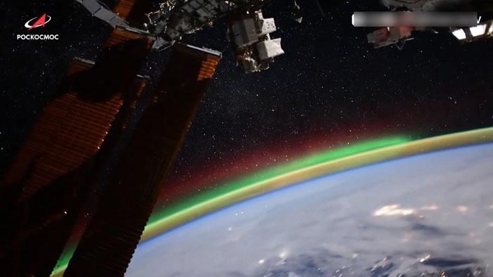 俄罗斯宇航员Kud-Sverchkov在社交媒体发布从国际空间站拍摄的北极光