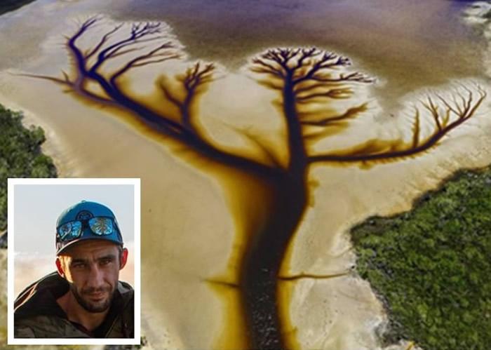 """澳洲摄影师透过航拍机在新南威尔士省北部卡科拉湖拍到""""生命之树""""图案美景"""