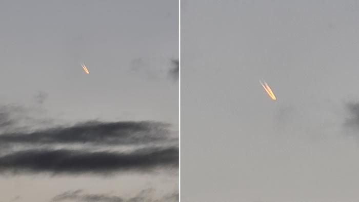 澳洲昆士兰省黄金海岸傍晚一个发光不明飞行物体划过上空
