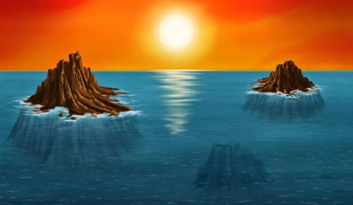 艺术家描绘的太古代岛屿