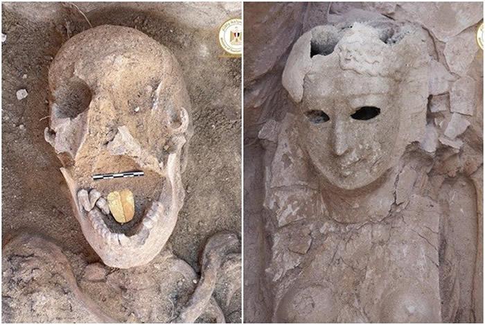 埃及塔波西里斯马格那神庙发现2000年历史口中含着一片金色舌头的木乃伊