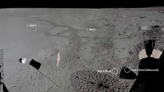 对阿波罗14号的影像分析找到宇航员艾伦·谢帕德在月球表面打出的高尔夫球