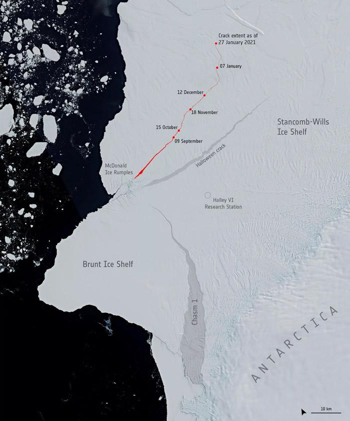 南极洲的布鲁特冰架即将迎来史诗般崩裂脱离