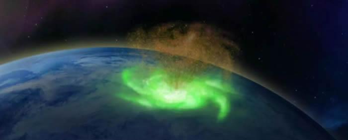 """科学家在北极上空电离层中首次发现等离子体""""太空飓风""""的证据"""