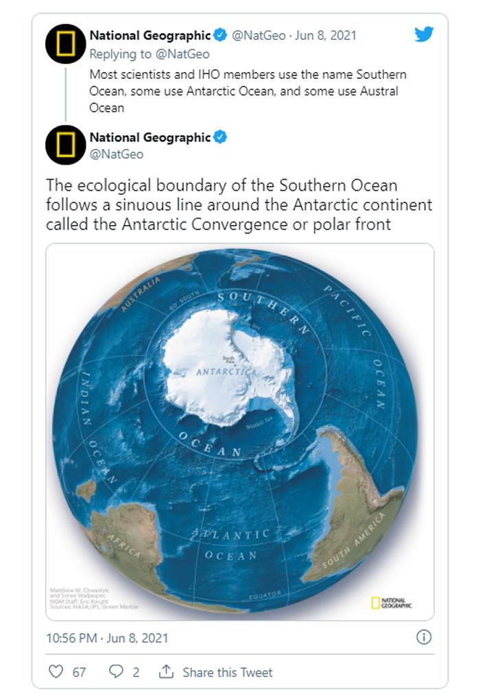 《国家地理》宣布正式承认南大洋为地球的第五大洋