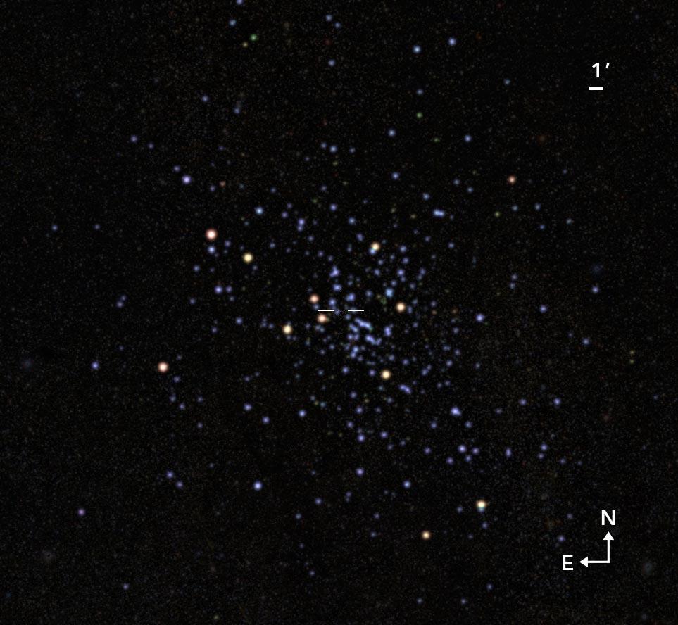 天蝎座方向发现一个巨大星团:瓦尔帕莱索1号 包含至少一万五千颗恒星