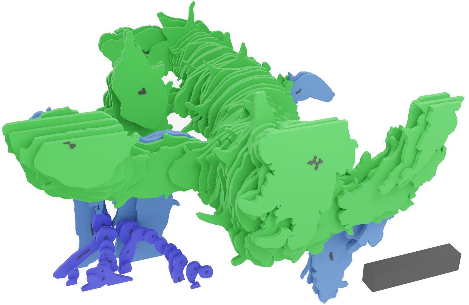 Asteroxylon mackiei的三维重建是通过数字方式重新组合薄薄的岩石片制成的。该重建显示了绿色的高度分枝的叶状枝,以及蓝色和紫色的根系。3D比例尺为