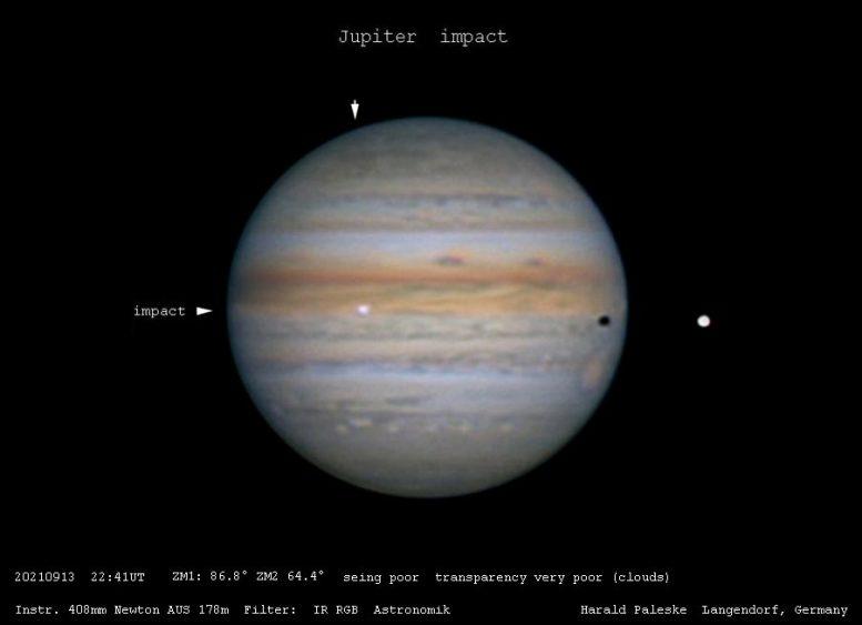 2021年9月13日天文学家观测到木星的另一次天体撞击事件